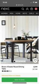 Next Bronx Four Seater Round Dining Table