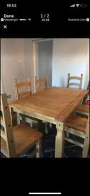 Mexican pine table 5 chairs
