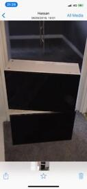 Wall Units Gloss Black Doors With Shelves