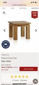 Brand new solid oak side table