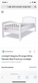 White wooden frame single bed with memory foam mattress