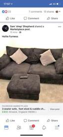 3 seater sofa , cuddle chair , storage footstool. Black fabric