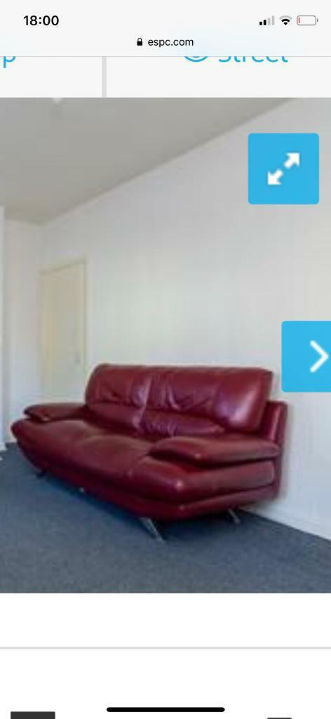 Red Leather Sofas Great Condition