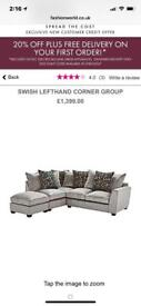 Lefthand Pewter and Teal Corner Sofa with Footstool *REDUCED*