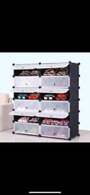 Plastic shoe storage unit
