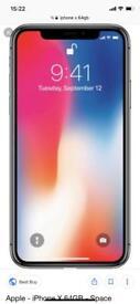 iPhone X 64gb in space grey on o2