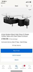 Brand new Black high gloss - s shaped coffee table with stools