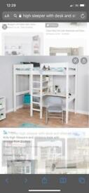 High sleeper with desks and shelves plus free extras