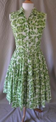 Jourden Green Floral Sleeveless Cotton Dress Size 42 NEW w/tags