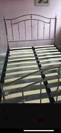 Double bed frame with crystal knobs