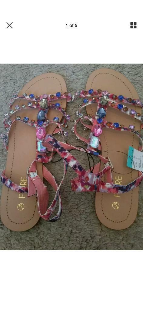 c3ffa5fb8 Brand new with tags multicoloured jewelled sandals RRP £15 matalan ...