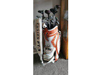 used-Callaway Staff Tour Golf Bag-21 Clubs, 1-9 + more-White Orange Leather Excellent Conddition