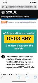 Personalised Number Plate DS03 BRY