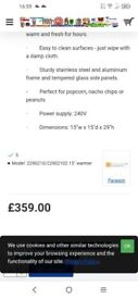 Commercial Popcorn/nacho/peanut display warmer
