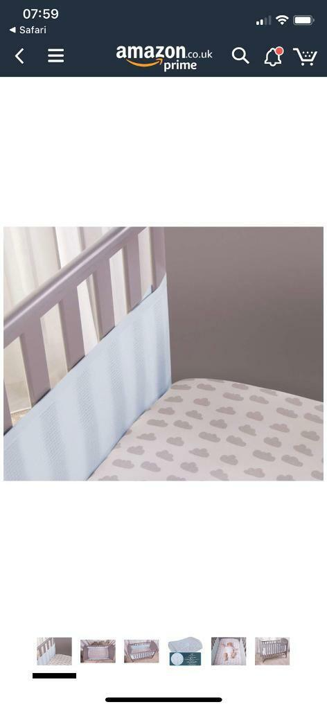 Safe Dreams 4 Sided Hypoallergenic Blue Cot Bumper with Safebreathe Technology