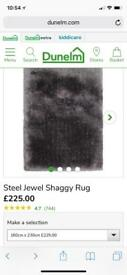 "Large Steel Jewel Shaggy Rug - 160cm x 230cm (63"" x 91"")"