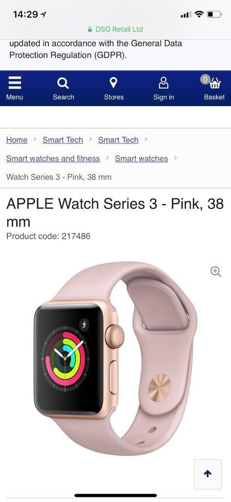 Apple Watch Series 3 Gps Cellular Rose Gold In Coatbridge North