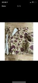 Pair of beige and purple floral curtains with 4 matching cushions