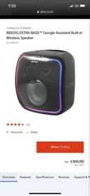 SAVE £179,USED ONCE,SONY XB501G EXTRA BASS GOOGLE,WIRELESS SPEAKER,£120 NO OFFERS, CAN DELIVER