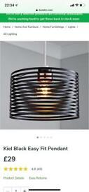 Kiel black easy fit lamp shade - Dunelm