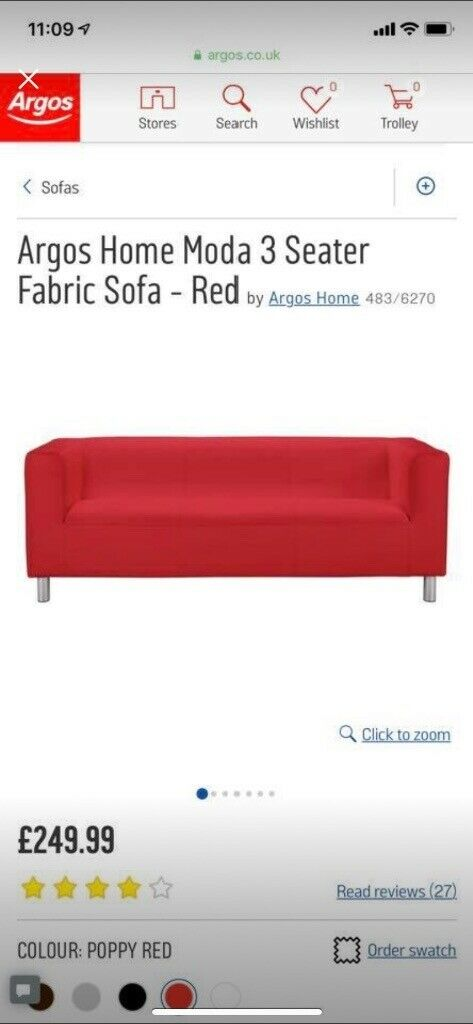 Superb Argos Home Moda 3 Seater Fabric Sofa Red In Castleford West Yorkshire Gumtree Home Remodeling Inspirations Genioncuboardxyz