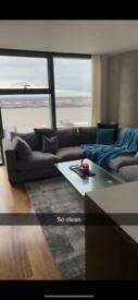 Luxury Grey DFS Corner Sofa With Pouffe and Cushions