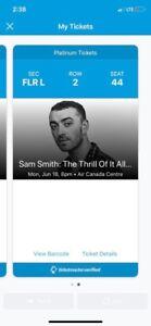 SAM SMITH SECOND ROW SEATS