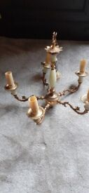 Vintage ornate gold and marble light fitting