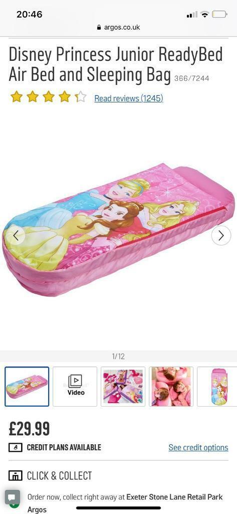 Disney Princess Sleeping Bag Inflatable Airbed Mattress Camping Ready Bed