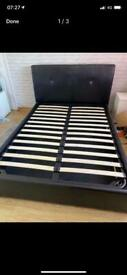 Leather ottoman double bed