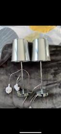 2 Next silver chrome bedside lamps (pair)