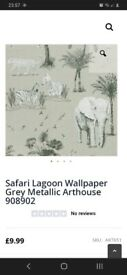 2 unopened rolls Safari Lagoon Grey wallpaper