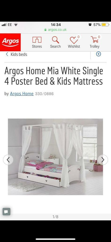 the latest d36e2 26f01 Argos 'Mia' girls four poster bed rrp £280 | in Swansea | Gumtree