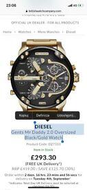 X1NEW DIESEL Gents Black/Gold Watch. RRP £419 LUXURY