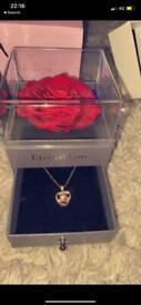 Real rose 100 different language I love you necklace