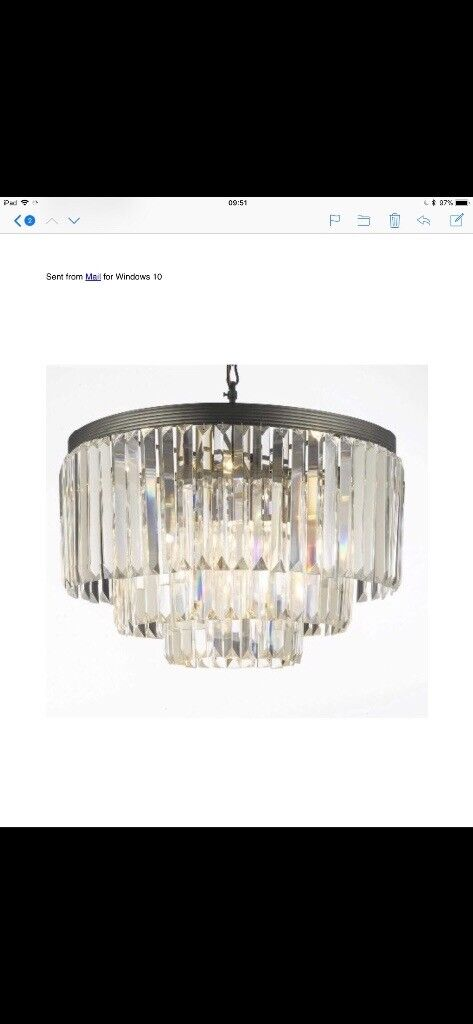 Chandelier lights crystal glass two available | in Harrow, London ...
