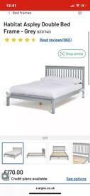 Double bed frame for sale - Grey Habitat Ashley