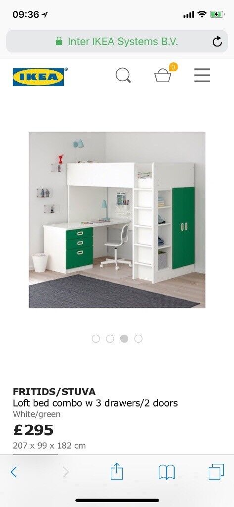 Ikea Children Bunk Bed With Desk And Waredrobe In Knottingley