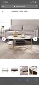 Brand new in box unopened Ardmillan marble effect and wood coffee table