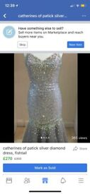 Catherine's of partick silver fishtail prom dress