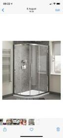 "Offset quadrant shower enclosure and shower tray ""left hand"""