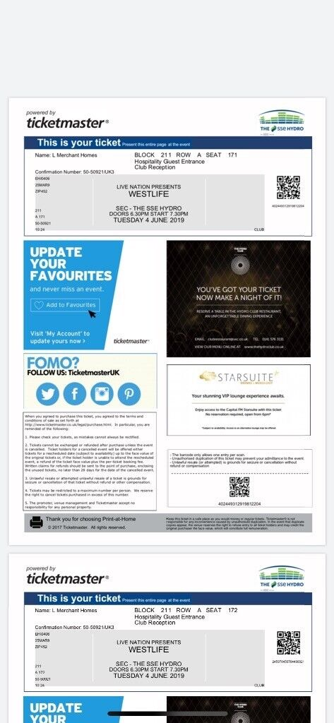 Hydro Club Westlife Tickets - Access to VIP Bar and Amazing View of  Stage!!!! | in East End, Glasgow | Gumtree