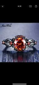Femail round flower ring with big crystal zircon