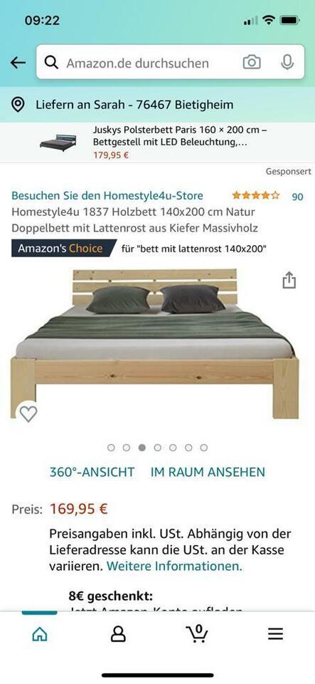 Bett Kiefer Massivholz mit  Rollrost 140*200cm - Schnäppchen! in Baden-Württemberg - Bietigheim