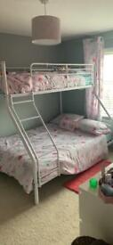 Argos white metal triple bunk bed with 2 mattress, only a year 1/2 old