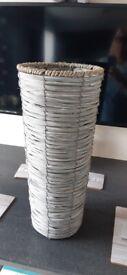 Large grey wicker vase