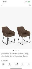 JOHN LEWIS BROOKES CARVER CHAIRS, ONLY BOUGHT ONE MONTH AGO SO AS NEW CONDITION