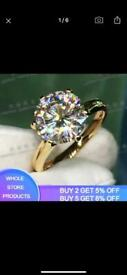 18k solid pure yellow gold 2ct lab dimond ring new