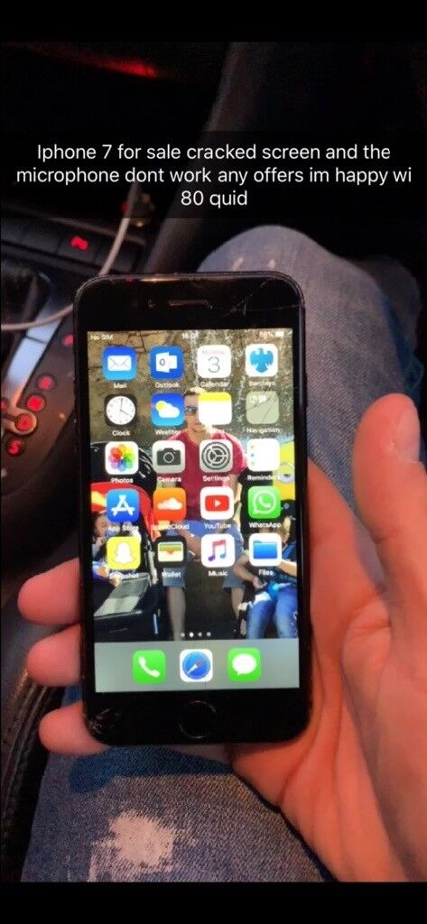 I phone 7 screen crack and mic not working   in Bradford, West Yorkshire    Gumtree