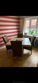 Barker & Stonehouse Marble Dining Table with 4 Bison Brown Chairs